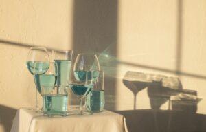 blue liquid in cups